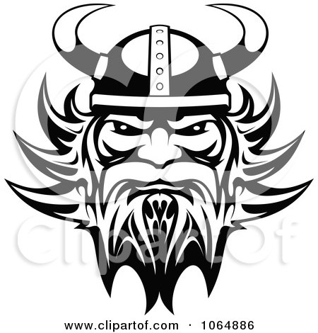 Clipart Black And White Tough Viking - Royalty Free Vector Illustration by Vector Tradition SM