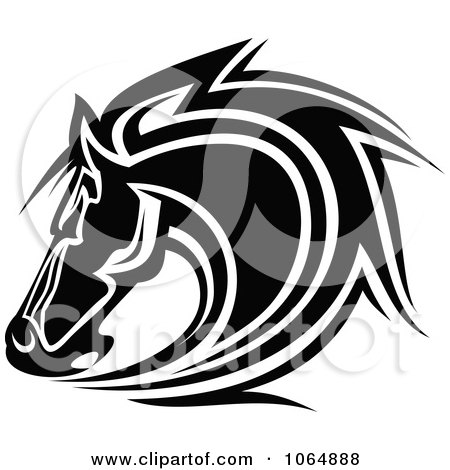 Clipart Horse Head Logo In Black And White 8 - Royalty Free Vector Illustration by Vector Tradition SM