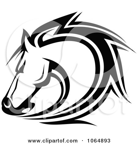 Clipart Horse Head Logo In Black And White 7 - Royalty Free Vector Illustration by Vector Tradition SM