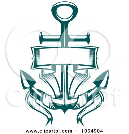Clipart Green Anchor And Banner - Royalty Free Vector Illustration by Vector Tradition SM