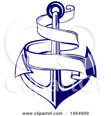 Clipart Blue Anchor And Banner - Royalty Free Vector Illustration by Vector Tradition SM