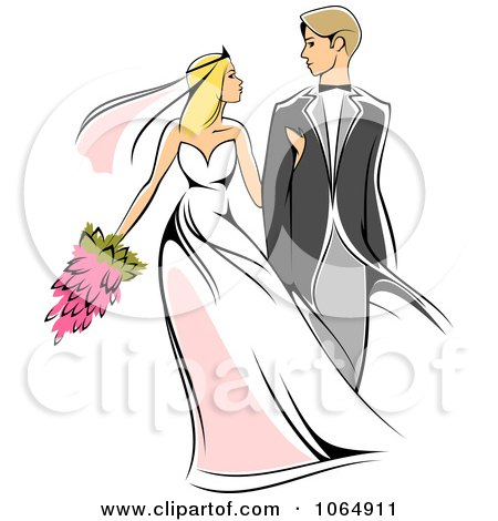 Clipart Newlywed Couple 1 - Royalty Free Vector Illustration by Vector Tradition SM