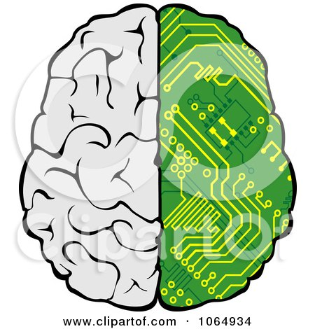 Clipart Half Circuitry Brain - Royalty Free Vector Illustration by Vector Tradition SM