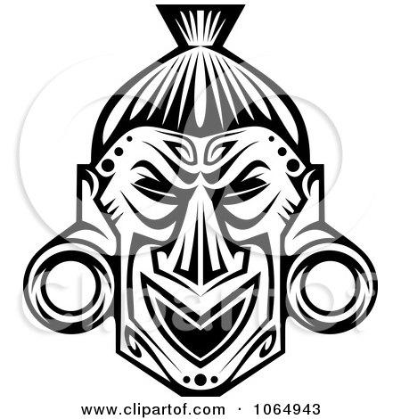 Tribal Mask Black And White 9