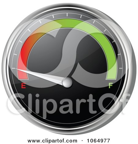 Clipart 3d Car Gas Gauge On Empty - Royalty Free Vector Illustration by elaineitalia