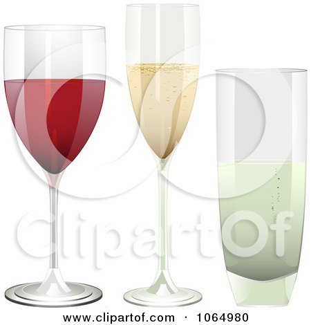 Clipart 3d Red Wine, Champagne And Water Glasses - Royalty Free Vector Illustration by elaineitalia