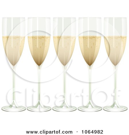 Clipart Five 3d Champagne Flutes - Royalty Free Vector Illustration by elaineitalia