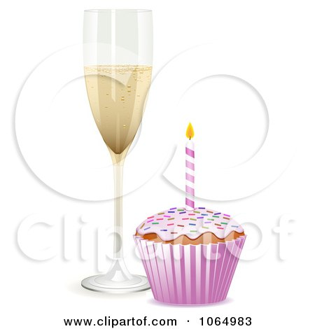 Clipart 3d Birthday Cupcake And Champagne - Royalty Free Vector Illustration by elaineitalia