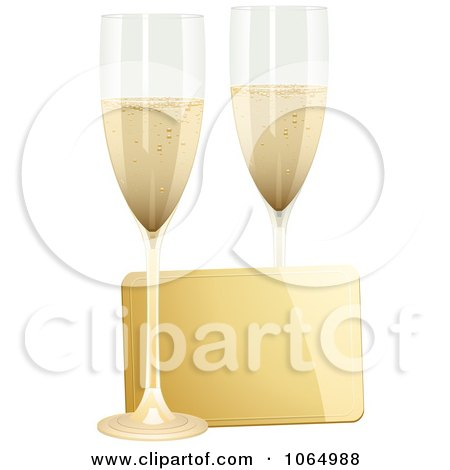 Clipart 3d Champagne Flutes And A Gold Card - Royalty Free Vector Illustration by elaineitalia