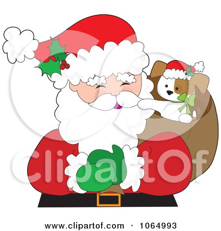 Clipart Christmas Puppy In Santas Sack - Royalty Free Vector Illustration by Maria Bell