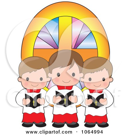 Clipart Trio Of Singing Altar Boys - Royalty Free Vector Illustration by Maria Bell