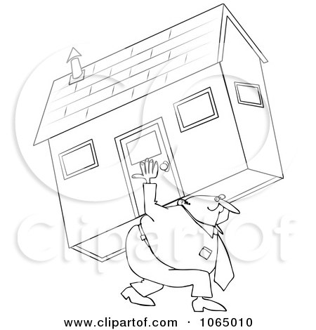 Clipart Outlined Man Carrying A House