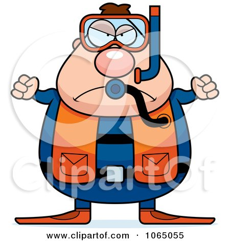 Clipart Mad Chubby Male Scuba Diver - Royalty Free Vector Illustration by Cory Thoman