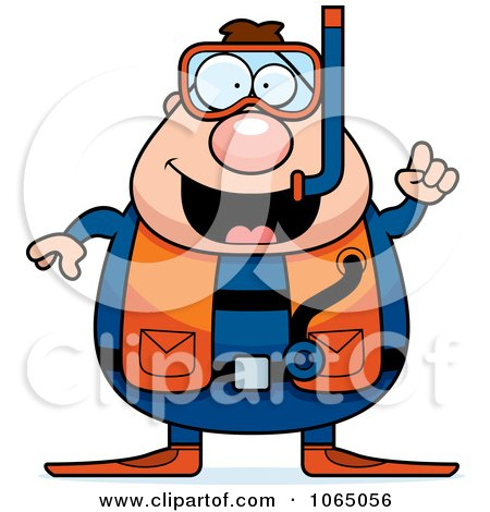 Clipart Chubby Male Scuba Diver With An Idea - Royalty Free Vector Illustration by Cory Thoman