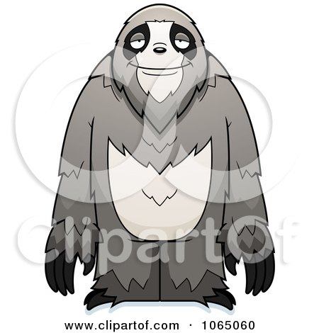 Clipart Standing Sloth - Royalty Free Vector Illustration by Cory Thoman