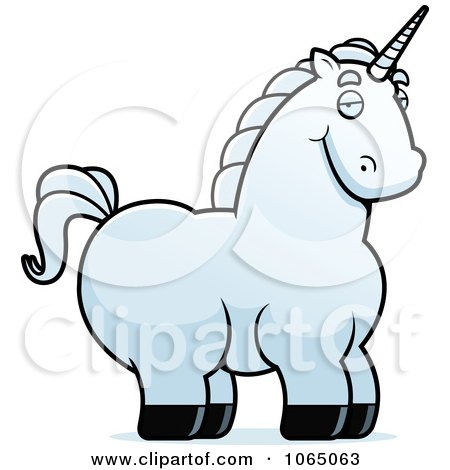 Clipart Chubby White Unicorn - Royalty Free Vector Illustration by Cory Thoman