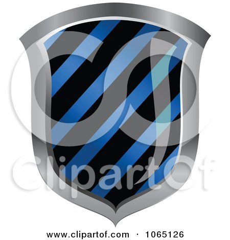 Clipart 3d Blue Hazard Striped Shield - Royalty Free Vector Illustration by Vector Tradition SM