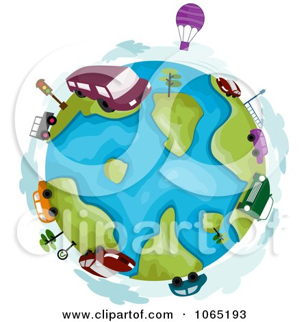 Clipart Hot Air Balloons And Vehicles Around A Globe - Royalty Free Vector Illustration by BNP Design Studio