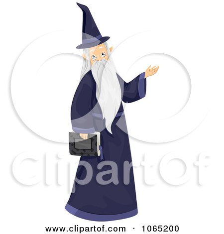 Clipart Wizard Carrying A Book - Royalty Free Vector Illustration by BNP Design Studio