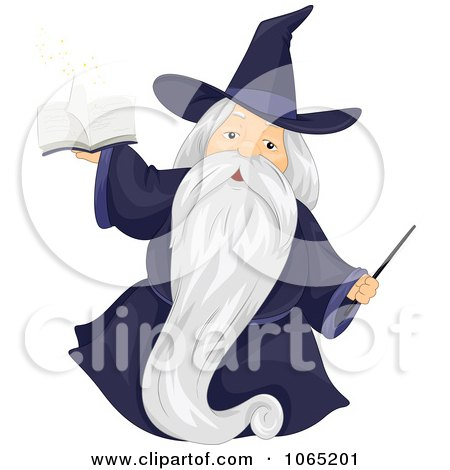 Clipart Wizard With A Magic Book And Wand - Royalty Free Vector Illustration by BNP Design Studio