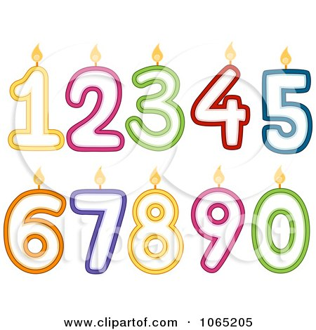 Clipart Numbered Birthday Candles - Royalty Free Vector Illustration by BNP Design Studio