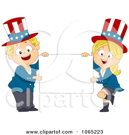 Clipart American Toddlers Holding A Blank Sign - Royalty Free Vector Illustration by BNP Design Studio