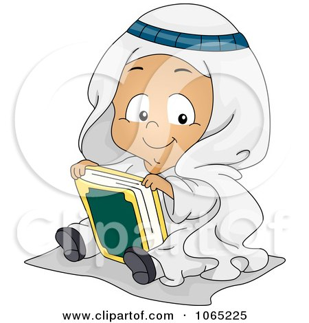 Clipart Muslim Baby With The Koran - Royalty Free Vector Illustration by BNP Design Studio