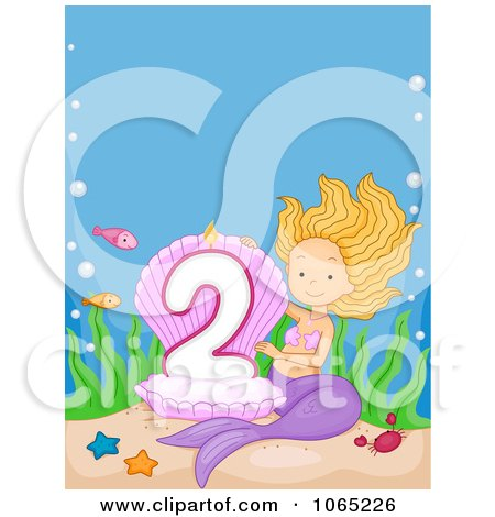 Clipart Mermaid Presenting A Second Birthday Candle - Royalty Free Vector Illustration by BNP Design Studio