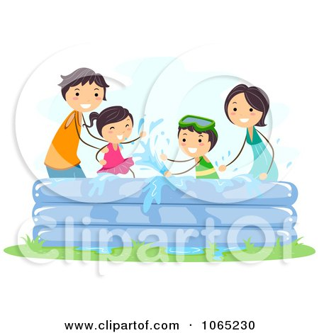 Clipart Stick Family Playing In A Kiddie Pool - Royalty Free Vector Illustration by BNP Design Studio