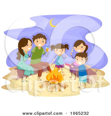 Clipart Stick Family Having A Bonfire At The Beach - Royalty Free Vector Illustration by BNP Design Studio