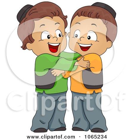 Clipart Muslim Boys Hugging - Royalty Free Vector Illustration by BNP Design Studio