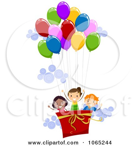 Clipart Kids In A Hot Air Balloon - Royalty Free Vector Illustration by BNP Design Studio
