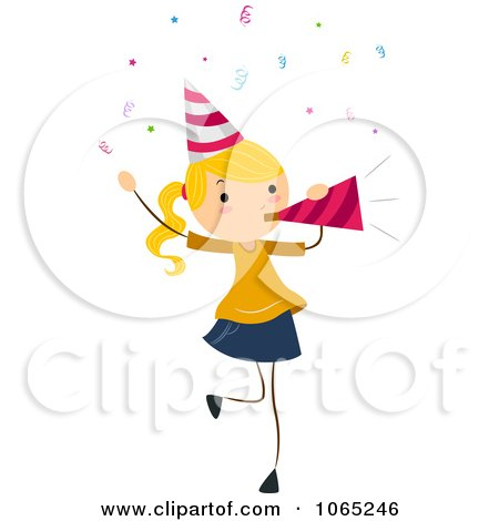 Clipart Birthday Girl Blowing A Party Horn Royalty Free