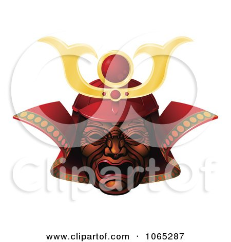 Clipart 3d Red Samurai Mask - Royalty Free Vector Illustration by AtStockIllustration