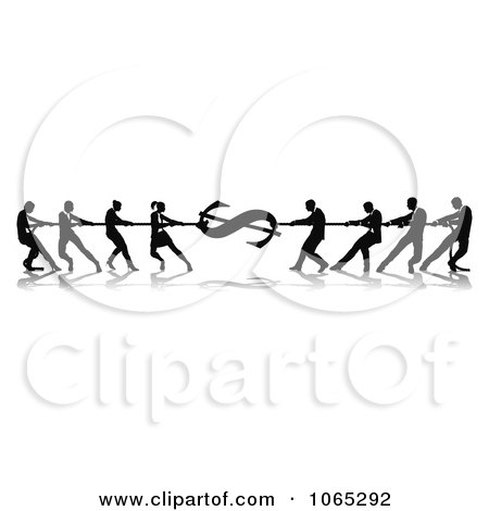 Clipart Silhouetted Dollar Tug Of War Business Teams - Royalty Free Vector Illustration by AtStockIllustration