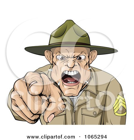 Clipart Drill Sargent Spitting As He Shouts - Royalty Free Vector Illustration by AtStockIllustration