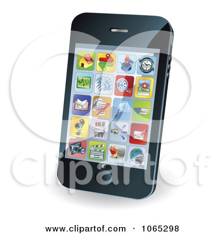 Clipart 3d Smart Phone With App Icons - Royalty Free Vector Illustration by AtStockIllustration