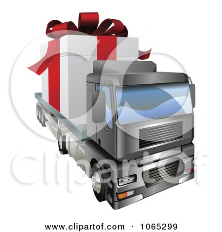 Clipart 3d Giant Gift On A Big Rig - Royalty Free Vector Illustration by AtStockIllustration