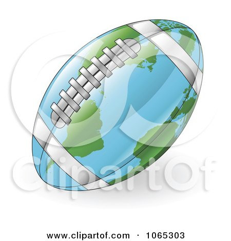 Clipart 3d American Football Map Globe - Royalty Free Vector Illustration by AtStockIllustration