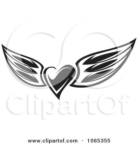 Clipart Black And White Heart Wings 3 - Royalty Free Vector Illustration by Vector Tradition SM