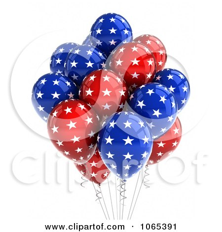 Clipart 3d Fourth Of July Helium Party Balloons 3 - Royalty Free CGI Illustration by stockillustrations