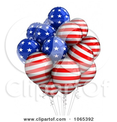 Clipart 3d Fourth Of July Helium Party Balloons 5 - Royalty Free CGI Illustration by stockillustrations