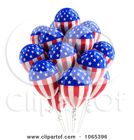 Clipart 3d Fourth Of July Helium Party Balloons 1 - Royalty Free CGI Illustration by stockillustrations