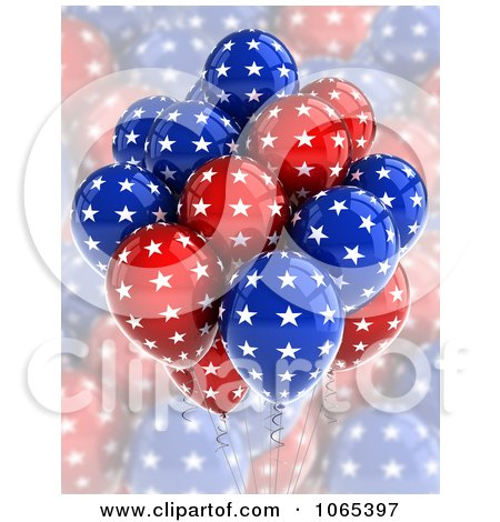 Clipart 3d Fourth Of July Helium Party Balloons 4 - Royalty Free CGI Illustration by stockillustrations