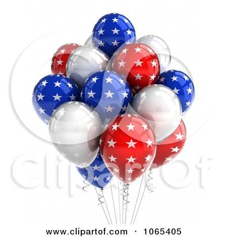 Clipart 3d Fourth Of July Helium Party Balloons 7 - Royalty Free CGI Illustration by stockillustrations