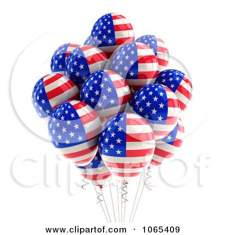 Clipart 3d Fourth Of July Helium Party Balloons 2 - Royalty Free CGI Illustration by stockillustrations
