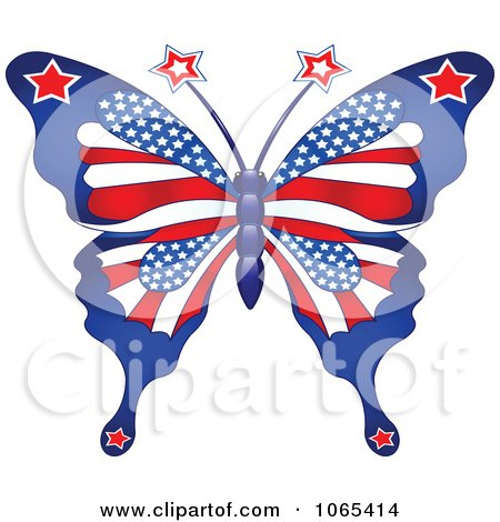 Clipart American Patriotic Butterfly Royalty Free Vector Illustration