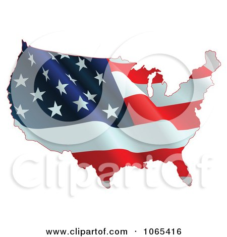 Clipart Waving American Flag Map - Royalty Free Vector Illustration by Pushkin