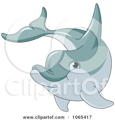 Clipart Happy Dolphin Swimming - Royalty Free Vector Illustration by Pushkin
