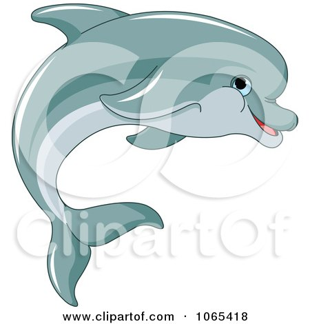 Clipart Dolphin Swimming - Royalty Free Vector Illustration by Pushkin